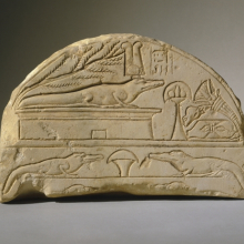 <p><em>Crocodile Stela</em>. From Dahamsha, Egypt. New Kingdom, Dynasty 19‒20, circa 1292–1075 <small>B.C.E</small>. Limestone, 6<sup>1</sup>/<sub>2</sub> x 9<sup>11</sup>/<sub>16</sub> x 2<sup>5</sup>/<sub>8</sub> in. (16.5 x 24.6 x 6.7 cm). Brooklyn Museum; Charles Edwin Wilbour Fund, 67.174. (Photo: Brooklyn Museum)</p>