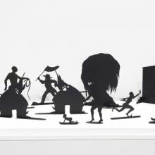 <p>Kara Walker (American, born 1969). <em>Burning African Village Play Set with Big House and Lynching</em> (detail), 2006. Edition: 16/20. Painted laser-cut steel, 24 x 38<sup>1/</sup><sub>4</sub> x 90 in. (61 x 97.2 x 228.6 cm) overall. Brooklyn Museum; Purchased with funds given by John and Barbara Vogelstein and Stephanie and Tim Ingrassia, 2008.53.1a-v. © Kara Walker; courtesy of Sikkema Jenkins & Co., New York. (Photo: Brooklyn Museum)</p>
