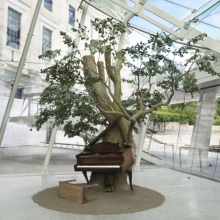 <p>Sanford Biggers (American, born 1970). <em>Blossom</em>, 2007. Steel, plastic and synthetic fibers, wood, MIDI player piano system, Zoopoxy, paint, dirt, modelling clay, polyurethane foam, 12 x 18 x 15 feet (365.9 x 548.8 x 457.3 cm) overall. Brooklyn Museum; Purchase gift of Toby Devan Lewis, Charles and Amber Patton, and an anonymous donor, gift of the Contemporary Art Council, and the Mary Smith Dorward Fund, 2011.10. © Sanford Biggers (Photo: Brooklyn Museum)</p>