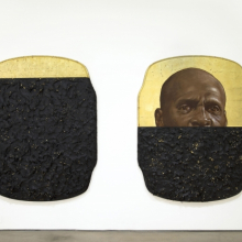 <p>Titus Kaphar (American, born 1976). <em>The Jerome Project (My Loss)</em>, 2014. Oil, gold leaf, and tar on wood; two panels, each 76<sup>1</sup>/<sub>2</sub> x 59<sup>1</sup>/<sub>2</sub> x 3<sup>3</sup>/<sub>4</sub> in. (194.3 x 151.1 x 9.5 cm). Brooklyn Museum; William K. Jacobs, Jr. Fund, 2015.7a-b. © Titus Kaphar (Photo: courtesy of the artists and Jack Shainman Gallery, New York)</p>
