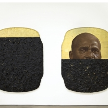 <p>Titus Kaphar (American, born 1976). <em>The Jerome Project (My Loss)</em>, 2014. Oil, gold leaf, and tar on wood; two panels, each 76<sup>1</sup>/<sub>2</sub> x 59<sup>1</sup>/<sub>2</sub> x 3<sup>3</sup>/<sub>4</sub> in. (194.3 x 151.1 x 9.5 cm). Brooklyn Museum; William K. Jacobs, Jr. Fund, 2015.7a-b. &copy; Titus Kaphar (Photo: courtesy of the artists and Jack Shainman Gallery, New York)</p>