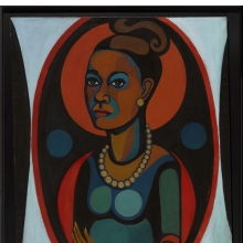 <p>Faith Ringgold (American, born 1930). <em>Early Works #25: Self-Portrait</em>, 1965. Oil on canvas, 50 x 40 in. (127 x 101.6 cm). &copy; 1965 Faith Ringgold. Gift of Elizabeth A. Sackler, 2013.96. (Photo: Sarah DeSantis, Brooklyn Museum)</p>