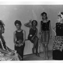 <p>Lorna Simpson (American, born 1960). <em>Rodeo Caldonia (Left to Right: Alva Rogers, Sandye Wilson, Candace Hamilton, Derin Young, Lisa Jones)</em>, 1986. Photographic print, 8 x 10 in. (20.3 x 25.4 cm). Courtesy of Lorna Simpson. &copy; 1986 Lorna Simpson</p>
