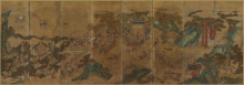 <p><em>The Banquet of the Seowangmo, the Queen Mother of the West</em>. Korea, Joseon dynasty, late 18th&ndash;early 19th century. Folding screen: ink and color on silk. Image: 54<sup>1</sup>/<sub>8</sub> x 156<sup>5</sup>/<sub>16</sub> in. (137.5 &times; 397 cm); overall: 90<sup>9</sup>/<sub>16</sub> &times; 164 9/16 in. (230 &times; 418 cm). Anonymous loan, L2018.1. (Photo: Courtesy of the lender)</p>