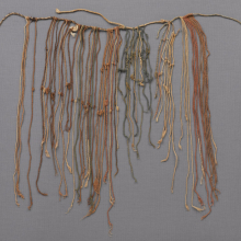 <p>Inca artist. <em>Administrative Quipu</em>, 1400–1532. South Coast, Peru. Cotton, 15<sup>3</sup>/<sub>8</sub> x 30<sup>5</sup>/<sub>16</sub> in. (39 x 77 cm). Brooklyn Museum; Gift of Ernest Erickson, 70.177.69. (Photo: Jonathan Dorado, Brooklyn Museum)</p>