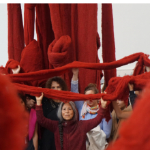 <p>Cecilia Vicu&ntilde;a and visitors with <em>Quipu Gut</em> (installation at Documenta 14, Kassel, Germany), 2017. Mixed media, unspun dyed wool, dimensions variable. Collection of Lehmann Maupin, New York, New York. &copy; Cecilia Vicu&ntilde;a. Courtesy of the artist and Lehmann Maupin, New York and Hong Kong</p>