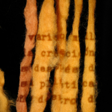 <p>Cecilia Vicuña (born 1948, Santiago, Chile). <em>Quipu Inscribed</em> (projection study for a presentation at the American Museum of Natural History, New York), 2008. Performance with unspun wool and projection, dimensions variable. © Cecilia Vicuña. Courtesy of the artist and Lehmann Maupin, New York and Hong Kong. (Photo: Diana Fruscio)</p>