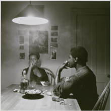 <p>Carrie Mae Weems (born Portland, Oregon, 1953). <em>Untitled (Man Smoking/Malcolm X)</em>, from the <em>Kitchen Table</em> series, 1990. Gelatin silver photograph, 31<sup>1</sup>/<sub>4</sub> x 30<sup>7</sup>/<sub>8</sub> in. (79.4 x 78.4cm). Brooklyn Museum; Caroline A.L. Pratt Fund, 1991.168. © Carrie Mae Weems. (Photo: Sarah DeSantis, Brooklyn Museum)</p>