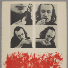 <p>Vito Acconci (New York City, New York, 1940–2017). <em>Kiss Off</em>, 1971. Lithograph and lipstick on paper, 30<sup>1</sup>/<sub>8</sub> × 22<sup>3</sup>/<sub>4</sub> in. (76.5 × 57.8 cm). Brooklyn Museum; Gift of Dr. Steven Kazan, 1992.18. © 2018 Vito Acconci / Artists Rights Society (ARS), New York. (Photo: Jonathan Dorado, Brooklyn Museum)</p>