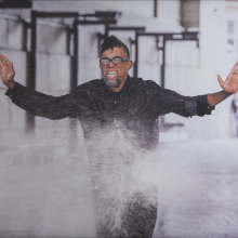 <p>Dread Scott (born Chicago, Illinois, 1965). <em>On the Impossibility of Freedom in a Country Founded on Slavery and Genocide</em>, performance still, 2014. Pigment print, 22 x 30 in. (55.9 x 76.2 cm). Project produced by More Art. Brooklyn Museum; Elizabeth A. Sackler Center for Feminist Art, Gift of the Contemporary Art Acquisitions Committee, 2016.25.2. © Dread Scott. (Photo: Mark Von Holden Photography. © Dread Scott)</p>
