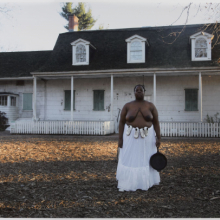 <p>Nona Faustine (born New York City, New York, 1977). <em>Isabelle, Lefferts House, Brooklyn</em>, 2016. Chromogenic photograph, 28 × 42 in. (71 × 106.7 cm). Brooklyn Museum; Winthrop Miles Fund, 2017.41.2. © Nona Faustine. (Photo: Jonathan Dorado, Brooklyn Museum)</p>