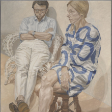 <p>Philip Pearlstein (born Pittsburgh, Pennsylvania, 1924). <em>Portrait of Linda Nochlin and Richard Pommer</em>, 1968. Oil on canvas, 72 × 60 in. (182.9 × 152.4 cm). Brooklyn Museum; Elizabeth A. Sackler Center for Feminist Art, Gift of the Estate of Linda Nochlin Pommer, TL2018.12. © Philip Pearlstein. (Photo: Jonathan Dorado, Brooklyn Museum)</p>