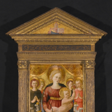 <p>Zanobi Strozzi (Italian, Florentine, 1412–1468). <em>Virgin and Child with Four Angels and the Redeemer</em>, circa 1450. Tempera and tooled gold on panel, 31 x 20<sup>1</sup>/<sub>4</sub> in. (78.7 x 51.4 cm); frame (original): 59<sup>1</sup>/<sub>4</sub> x 36<sup>1</sup>/<sub>2</sub> in. (150.5 x 92.7 cm). Brooklyn Museum; Gift of Mrs. Arthur Lehman, 53.189. (Photo: Sarah DeSantis, Brooklyn Museum)</p>