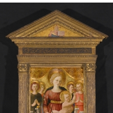 <p>Zanobi Strozzi (Italian, Florentine, 1412&ndash;1468). <em>Virgin and Child with Four Angels and the Redeemer</em>, circa 1450. Tempera and tooled gold on panel, 31 x 20<sup>1</sup>/<sub>4</sub> in. (78.7 x 51.4 cm); frame (original): 59<sup>1</sup>/<sub>4</sub> x 36<sup>1</sup>/<sub>2</sub> in. (150.5 x 92.7 cm). Brooklyn Museum; Gift of Mrs. Arthur Lehman, 53.189. (Photo: Sarah DeSantis, Brooklyn Museum)</p>