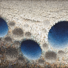 <p>Kwang Young Chun (Korean, born 1944). <em>Aggregation 09–D071 Blue</em>, 2009. Mixed media with Korean mulberry paper, 44<sup>1</sup>/<sub>2</sub> x 76<sup>3</sup>/<sub>4</sub> in. (113 x 195 cm). Courtesy of Young Hwan Jeong</p>