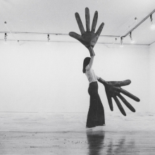 Sylvia Palacios Whitman (born Chile, 1941; lives and works in the United States). Passing Through, Sonnabend Gallery, 1977. Documentation of performance; photographer: Babette Mangolte. Photograph, 11 × 14 in. (27.9 × 35.6 cm). Courtesy of Babette Mangolte. © 1977 Babette Mangolte (all rights of reproduction reserved)