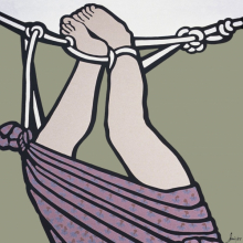 <p>Sonia Gutiérrez (born Colombia, 1947). <em>Y con unos lazos me izaron</em> (And they lifted me up with rope), 1979. Acrylic on canvas, 59<sup>1</sup>/<sub>16</sub> × 47<sup>1</sup>/<sub>4</sub> in. (150 × 120 cm). Museo de Arte Moderno La Tertulia, Cali, Colombia. © Sonia Gutiérrez</p>