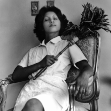 <p>Sandra Eleta (born Panama, 1942). <em>Edita (la del plumero)</em>, Panamá (Edita [the one with the feather duster], Panama), 1977, from the series<em> La servidumbre</em> (Servitude), 1978– 79. Black-and-white photograph, 19 × 19 in. (48.3 × 48.3 cm). Courtesy of Galería Arteconsult S.A., Panama. © Sandra Eleta</p>