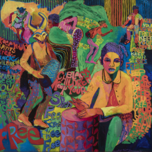 <p>Carolyn Lawrence (American, born 1940). <em>Black Children Keep Your Spirits Free</em>, 1972. Acrylic on canvas, 48<sup>1</sup>/<sub>2</sub> x 50<sup>1</sup>/<sub>2</sub> x 5<sup>1</sup>/<sub>4</sub> in. (123 x 128 x 13.5 cm). Courtesy of the artist. © Carolyn Mims Lawrence. (Photo: Michael Tropea)</p>