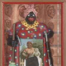 <p>Betye Saar (American, born 1926). <em>The Liberation of Aunt Jemima</em>, 1972. Wood, cotton, plastic, metal, acrylic, printed paper and fabric, 11<sup>3</sup>/<sub>4</sub> x 8 x 2<sup>3</sup>/<sub>4</sub> in. (29.8 x 20.3 x 7 cm). © Betye Saar. Collection of Berkeley Art Museum and Pacific Film Archive, Berkeley, California; purchased with the aid of funds from the National Endowment for the Arts (selected by The Committee for the Acquisition of Afro-American Art). © Betye Saar. (Photo: Benjamin Blackwell. Courtesy of the artist and Roberts Projects, Los Angeles)</p>