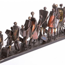 <p>Ginane Makki Bacho (born Beirut, Lebanon, 1947). <em>Refugees</em>, 2018. Steel, each: 30 x 5 x 9 in. (76.2 x 12.7 x 22.9 cm). Courtesy of the artist. (Photo: Tarek Haddad)</p>