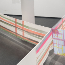 <p>Eric N. Mack (American, born 1987). Installation view, <em>Seat Pleasant</em>, 2019. Dyed cotton, rope, pins, electric fan. (Photo: Jonathan Dorado)</p>