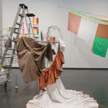 <p>Installation view, <em>Eric N. Mack: Lemme walk across the room</em> (visible: <em>The opposite of the pedestal is the grave</em>, 2017; <em>Tessuti Raponi (Ciao Milano)</em>, 2018; Selections of works on paper, 2016&ndash;18). Brooklyn Museum, January 11&ndash;July 7, 2019. (Photo: Jonathan Dorado)</p>