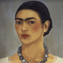 <p>Frida Kahlo (Mexican, 1907–1954). <em>Self-Portrait with a Necklace</em>, 1933. Oil on metal, 13<sup>3</sup>/<sub>4</sub> x 11 in. (35 x 29 cm). The Jacques and Natasha Gelman Collection of 20th Century Mexican Art and the Vergel Foundation. © 2019 Banco de México Diego Rivera Frida Kahlo Museums Trust, Mexico, D.F. / Artists Rights Society (ARS), New York</p>