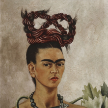 <p>Frida Kahlo (Mexican, 1907&ndash;1954). <em>Self-Portrait with Braid</em>, 1941. Oil on hardboard, 20 x 15<sup>1</sup>/<sub>4 </sub>in. (51 x 38.5 cm). The Jacques and Natasha Gelman Collection of 20th Century Mexican Art and the Vergel Foundation. &copy; 2019 Banco de M&eacute;xico Diego Rivera Frida Kahlo Museums Trust, Mexico, D.F. / Artists Rights Society (ARS), New York</p>