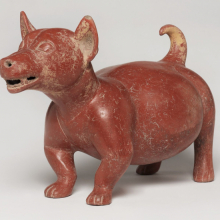 <p>Colima. <em>Dog Figure</em>, 200 <small>B.C.E.</small>&ndash;500 <small>C.E.</small> Ceramic, 10<sup>3</sup>/<sub>4</sub> x 8<sup>1</sup>/<sub>2</sub> x 16<sup>1</sup>/<sub>2</sub> in. (27.3 x 21.6 x 41.9 cm). Brooklyn Museum; A. Augustus Healy Fund, 37.390. (Photo: Brooklyn Museum)</p>