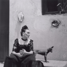<p>Lola Alvarez-Bravo (Mexican, 1907&ndash;1993). <em>Frida Kahlo (with dog)</em>, circa 1944. Gelatin silver print, 10 x 8 in. (25.2 x 20.3 cm). Center for Creative Photography, University of Arizona: Lola Alvarez Bravo Archive. &copy; 2019 Center for Creative Photography, The University of Arizona Foundation / Artists Rights Society (ARS), New York</p>