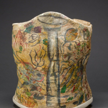 <p>Plaster corset, painted and decorated by Frida Kahlo, Museo Frida Kahlo. © Diego Rivera and Frida Kahlo Archives, Banco de México, Fiduciary of the Trust of the Diego Rivera and Frida Kahlo Museums. (Photo: Javier Hinojosa, courtesy of V&A Publishing)</p>