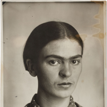 <p>Guillermo Kahlo, <em>Frida Kahlo</em>, circa 1926. Silver gelatin print, 6<sup>3</sup>/<sub>4</sub> x 4<sup>3</sup>/<sub>4</sub> in. (17.2 x 12.2 cm). Collection of Museo Frida Kahlo. © Frida Kahlo & Diego Rivera Archives. Bank of Mexico, Fiduciary in the Diego Rivera and Frida Kahlo Museum Trust</p>