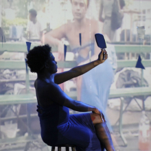 <p>Kiyan Williams (American, born 1991). Still from <em>Reflections</em>, 2017. Video, color, sound, mirrors; 15 min., 6 sec. Courtesy of the artist. © Kiyan Williams</p>