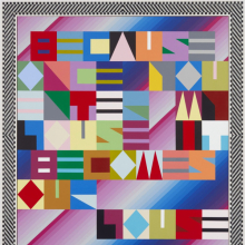 <p>Jeffrey Gibson (American, born 1972). <em>BECAUSE ONCE YOU ENTER MY HOUSE IT BECOMES OUR HOUSE</em>, 2018. Acrylic on canvas; glass beads and artificial sinew inset into wood frame, 82 x 74 x 2<sup>1</sup>/<sub>2</sub> in. (208.3 x 188 x 6.4 cm). Private collection. © Jeffrey Gibson</p>