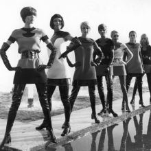 <p>Pierre Cardin two-tone jersey dresses, with vinyl waders, 1969. (Photo: Yoshi Takata. © Pierre Pelegry)</p>