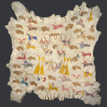 Cotsiogo (Cadzi Cody) (Shoshone, 1866–1912). Painted Hide, circa 1900. Elk hide, pigment, 81 × 78 in. (205.7 × 198.1 cm). Dick S. Ramsay Fund, 64.13. (Photo: Brooklyn Museum)