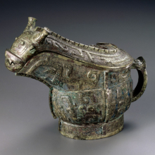 <p><em>Ritual Wine Vessel (Guang).</em> China, late Shang dynasty, 13th–11th century <small>B.C.E</small>. Bronze, 6<sup>1</sup>/<sub>2</sub> × 3<sup>1</sup>/<sub>4</sub> × 8<sup>1</sup>/<sub>2</sub> in. (16.5 × 8.3 × 21.6 cm). Brooklyn Museum; Gift of Mr. and Mrs. Alastair B. Martin, the Guennol Collection, 72.163a–b. (Photo: Brooklyn Museum)</p>