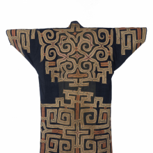 <p><em>Robe.</em> Northern Japan, Ainu culture, 19th century. Cotton and silk, 55<sup>1</sup>/<sub>8</sub> × 51<sup>9</sup>/<sub>16</sub> in. (140 × 131 cm). Brooklyn Museum Collection, 12.751. (Photo: Brooklyn Museum)</p>