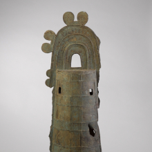 <p><em>Bell-Shaped Ritual Object (Dotaku).</em> Japan, middle to late Yayoi period, 100–300 <small>C.E.</small> Bronze, 34<sup>1</sup>/<sub>2</sub> x 11<sup>1</sup>/<sub>2</sub> in. (87.6 x 29.2 cm). Brooklyn Museum; Gift of Mr. and Mrs. Milton J. Lowenthal, 67.198. (Photo: Brooklyn Museum)</p>