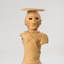 <p><em>Haniwa Figure of a Woman.</em> Japan, Kofun period, 5th–6th century. Earthenware with traces of pigment, 18 × 8<sup>3</sup>/<sub>4</sub> × 7<sup>1</sup>/<sub>2</sub> in. (45.7 × 22.2 × 19.1 cm). Brooklyn Museum; Gift of Mr. and Mrs. Stanley Marcus, 79.278.1. (Photo: Brooklyn Museum)</p>