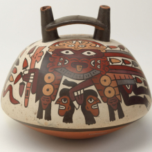 <p>Nasca artist. <em>Double-Spouted Vessel</em>, 325–440. Ceramic, pigment, 6 × 7 × 7 in. (15.2 × 17.8 × 17.8 cm). Brooklyn Museum; Gift of the Ernest Erickson Foundation, Inc., 86.224.15. Creative Commons-BY. (Photo: Brooklyn Museum)</p>