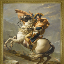 <p>Jacques-Louis David (French, 1748–1825). <em>Bonaparte Crossing the Alps (Bonaparte franchissant le Grand-Saint-Bernard)</em>, 1800–1. Oil on canvas, 102<sup>1</sup>/<sub>3</sub> x 87 in. (261 x 221 cm). Collection of Château de Malmaison. (Photo: Courtesy RMN-GP)</p>