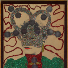 <p>May Wilson (American, 1905–1986). <em>Untitled II (Portrait)</em>, 1966–67. Albumen photograph with glitter, mirrors, red paint, mount, 10<sup>3</sup>/<sub>4</sub> × 13<sup>7</sup>/<sub>8</sub> in. (27.3 × 35.2 cm). Brooklyn Museum; Emily Winthrop Miles Fund, 2007.11.2. © Estate of May Wilson. (Photo: Brooklyn Museum)</p>