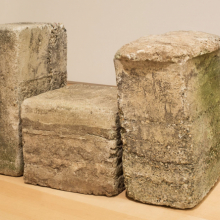 <p>Beverly Buchanan (Fuquay, North Carolina 1940–2015 Ann Arbor, Michigan). <em>Untitled (Frustula Series)</em>, circa 1978. Cast concrete, 20 × 10 × 16 in. (50.8 × 25.4 × 40.6 cm). Brooklyn Museum; Gift of Arden Scott, 2017.9a–c. © Beverly Buchanan. (Photo: Brooklyn Museum)</p>
