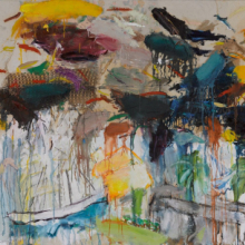 <p>Joan Snyder (born Highland Park, New Jersey, 1940). <em>Buried Images</em>, 1978. Mixed media on canvas, 48 × 96 in. (121.9 × 243.8 cm). Brooklyn Museum; Gift of the Estate of Gifford and Joann Phillips, 2019.6. © Joan Snyder. (Photo: Brooklyn Museum)</p>