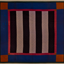 <p>Unidentified artist (American). <em>Bars Quilt</em>, circa 1890. Cotton, wool, 83 × 82 in. (210.8 × 208.3 cm). Brooklyn Museum; Gift of Mr. and Mrs. H. Peter Findlay, 77.122.3. (Photo: Gavin Ashworth, Brooklyn Museum)</p>