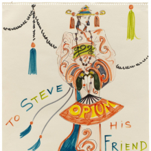 "<p>Yves Saint Laurent (French, 1936–2008). <em>Chinese-inspired sketch dedicated to ""Steve</em>,<em>""</em> 1978. © Fondation Pierre Bergé – Yves Saint Laurent, Paris</p>"