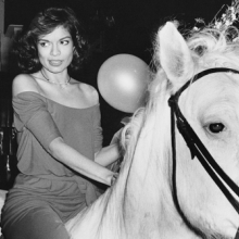 <p>Rose Hartman (American, born 1937). <em>Bianca Jagger Celebrating her Birthday, Studio 54</em>, 1977. Black and white photograph. Courtesy of the artist, www.rosehartman.com. © Rose Hartman</p>