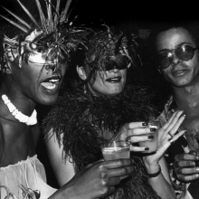 <p>Rose Hartman (American, born 1937). <em>Bethann Hardison, Daniela Morera, and Stephen Burrows at Studio 54</em>, 1978. Black and white photograph. Courtesy of the artist, www.rosehartman.com. © Rose Hartman</p>